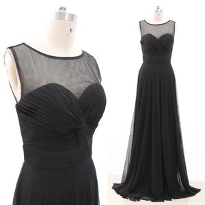 Illusion Black Net Long Formal Gown